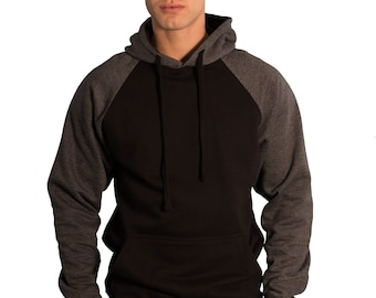 Black and Charcoal Cute Fashion Plain Blank Men Women Pullover