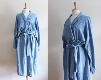 Vintage 1990s Blue Chambray Duster Jacket / Chambray Robe
