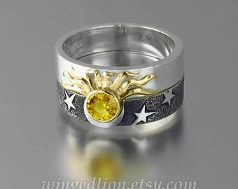 Sun and Moon ECLIPSE Engagement Ring & Wedding Band Set in 18K gold and silver with Yellow Sapphire
