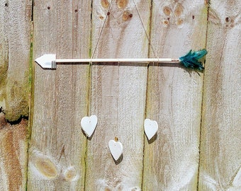 Boho Arrow Decor | Heart Baby Mobile| Toddler Baby room ideas | Feather wall hanging | Kids inspiration wall art | Gold heart wall hanging