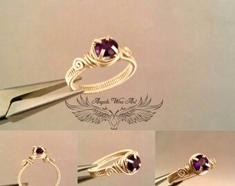 Handmade wire wrapped amethyst ring