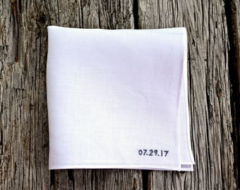 Embroidered Handkerchief with Wedding Date, Wedding Pocket Square, Personalized White Linen Hankerchief Wedding Day Embroidered Handkerchief