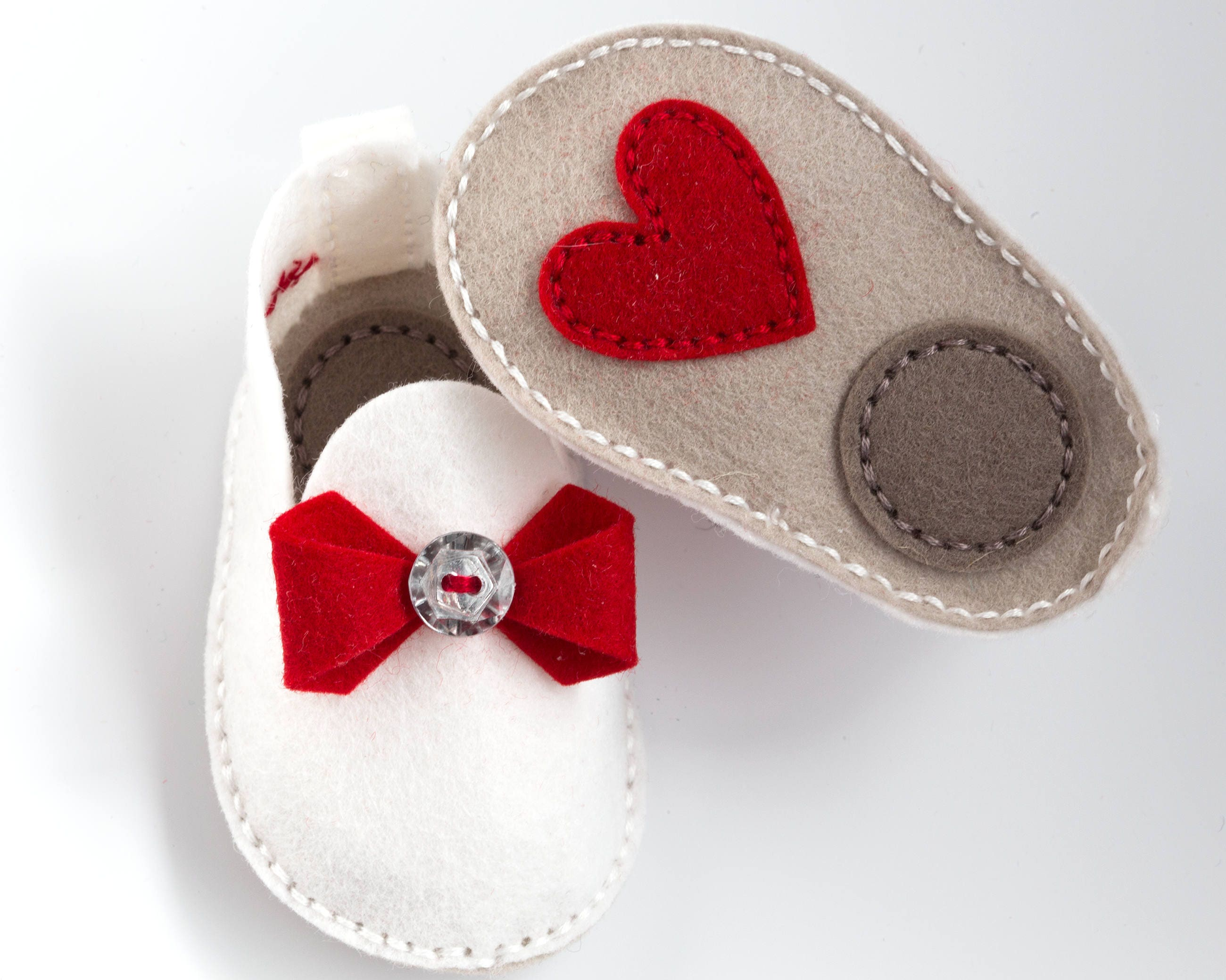 Handmade Baby Shoes Red Bow and Heart Unique Baby Gift Wool Felt