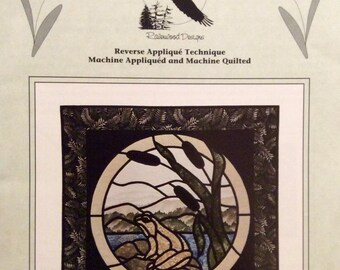 "The Marshlands Scenic Quited Wall Decor Pattern Reverse Applique Frog Bullrushes 30""x30"" Ravenwood Designs Northwoods Series Stained Glass"