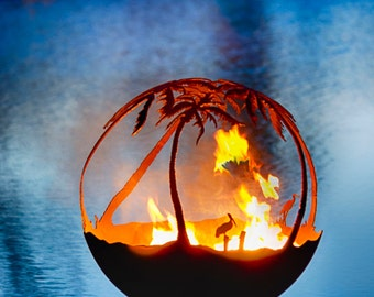 Another Day in Paradise Fire Pit - Palm Tree Firepit Sphere with Flat Steel Base.