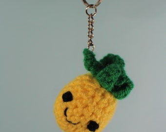 Crochet pineapple keyring - pineapple bag charm - pineapple keychain - knitted pineapple keyring - pineapple gift - gift for vegan