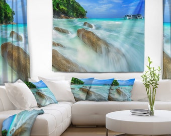 Designart Tachai Island in Thailand Landscape Photography Wall Tapestry, Wall Art Fit for Wall Hanging, Dorm, Home Decor