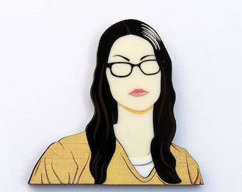 Orange Is The New Black Alex Vause layered laser cut acrylic and wood brooch OITNB
