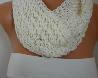 Creamy White Knit Infinity Scarf, Circle Scarf  Loop  Scarf Gift Ideas For Her Women Fashion Accessories -fatwoman - chunky