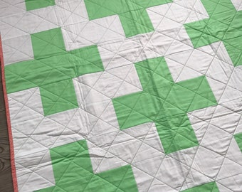 Plus Toddler Quilt, Modern Baby Quilt, Swiss Cross Quilt, Modern Quilt, Handmade Quilts, Cactus Quilt, Baby Shower Gift