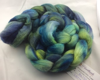 Hand dyed roving, Polwarth Wool and Silk, from Hearthside Fibers, colorway Lemon Thyme, a dream to spin