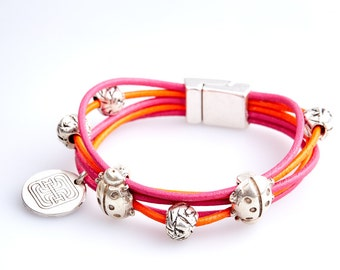 ART35 Pink and Orange Leather bracelet
