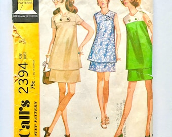 Vintage Sewing Pattern Women's 70's McCall's 2394, Maternity, Two Piece Dress (Size XS)
