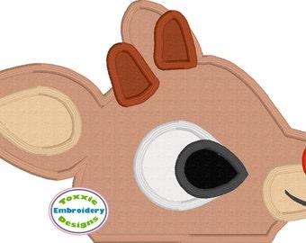Red Nose Reindeer Peeker Appliqué Embroidery Design