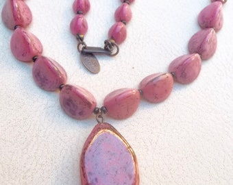 MIRIAM HASKELL Vintage Necklace Pink Art Glass Beads & Pendant