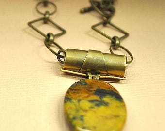 Yellow Jade and Brass Necklace