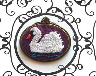 Hand Embroidered Elegant White Swan Bird