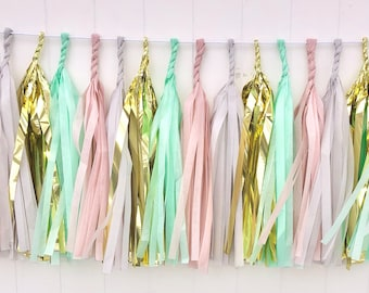 Blush, Grey, Mint, & Gold tassel garland // wedding and party decoration// backdrop//birthday party