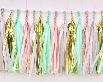 Blush, Grey, Mint, & Gold tassel garland // wedding and party decoration// backdrop//birthday party