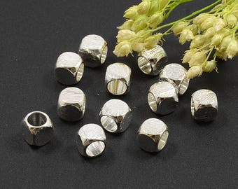 Brushed Beads, 5mm, Round Cube Beads, Tarnish Resistant, Silver Beads, Lead Free, Brass Beads, Large Hole Beads, 4mm