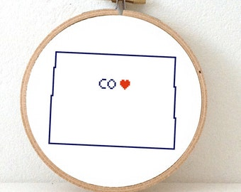 COLORADO Map Cross Stitch Pattern. Colorado art pattern. Colorado ornament pattern with Denver. Go Away gift
