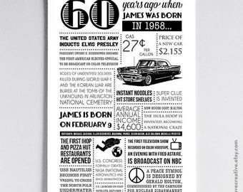 Personalized 60th Birthday Poster, 1958 Events - Multiple Size Options