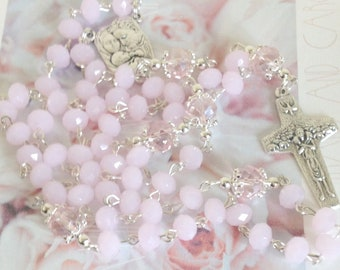 Pink Crystal Rosary, First Holy Communion Rosary for Girls, Christenings, Baptism. Goddaughter Gift, Catholic Rosary, Holy Family