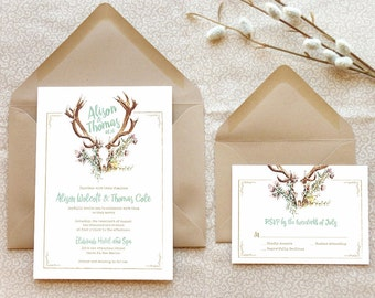Deer Antlers Printable Wedding Invitations - Southwestern Wedding - Rustic Wedding - Floral Wedding