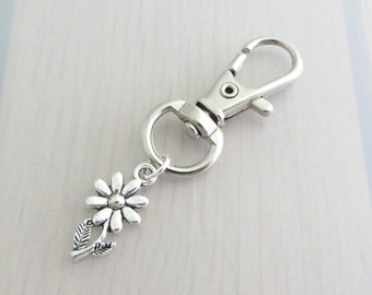 Daisy Bag Charm, Flower Purse Clip, Silver Daisy Flower Handbag Charm, Flower Charm Zipper Pull, Gardeners Gift, Nature Plant Gift