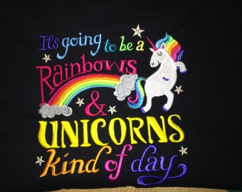 It's going to be a rainbows and unicorns kinda day super cute pma embroidered hoody custom made in your colour/ size