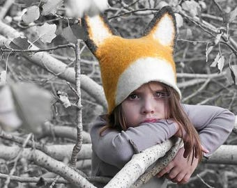 Realistic Fox Animal Hat with Ears / Hand Felted Wool - Unisex / Any Size