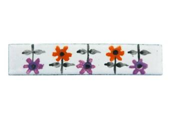 Vintage Enamel Flower Brooch, Enamel Flower Bar Pin, Purple Flower Brooch, Orange Daisy Brooch, Orange Enamel Flower Pin, Mod Flower Pin