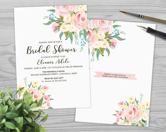 Bridal Shower Invitation - Wedding Shower Invitation - Printable Shower Invitation - Wedding Invitation - Watercolor Flowers - PW1713