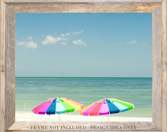 "Featured listing image: Photography PRINT OR CANVAS - Wall Art Decor - ""Two Colorful Umbrellas - Honeymoon Island"""