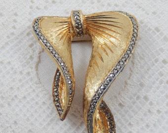 Vintage Elegant Brushed and Etched Goldtone Bow Enhanced with Marcasite Crystals