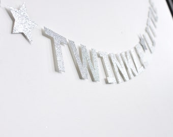 Twinkle Twinkle Little Star, Paper Banner, Silver, Birthday Party Decor, Nursery Decor, Baby Shower