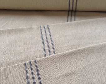 Grain Sack Fabric Sold By The Yard Blue Stripe Vintage Inspired Feed Sack Fabric Flour Sack Fabric Gunny Sack Fabric Grain Sack Reproduction