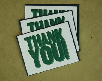 Set of 3 Letterpress Thank You Cards - Teal Green Two-Color Letterpress Blank Thank You Card Wooden Type