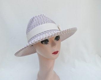 Tan Tweed Fedora Summer Hat / Crushable Sun Hat  / Travel Light Weight Fedora Style Hat / Tan Sun Hat With Ribbon Band