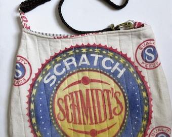 Feedsack Purse, H.P. Schmidt Milling Co. feed sack, Purses, Handbag, shoulder bag, handbag, hobo bag, cotton feed sack purse, machine quilt