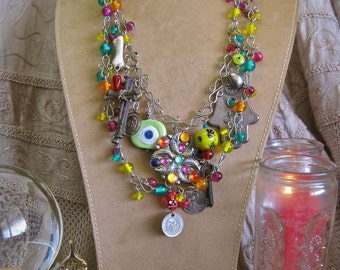 Gypsy in My Soul: Evil Eye Necklace Voodoo Vintage Assemblage Charms Skull Cross Hamsa Hand Coins Key Talismans Amulets GOOD LUCK PROTECTION