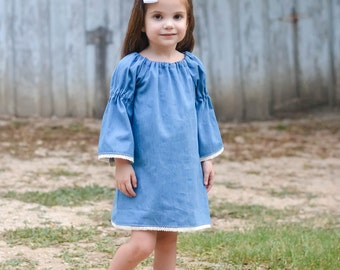 Girls Denim Dress - Girls Peasant Dress - Girls Fall Dress - Toddler Denim Dress - Girls Simple Dress - 3/4 Sleeve Dress - Jean Dress