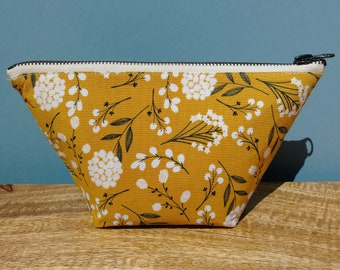 Mustard Floral Cosmetic Bag, Makeup Bag, Zipper Pouch, Gift Bag