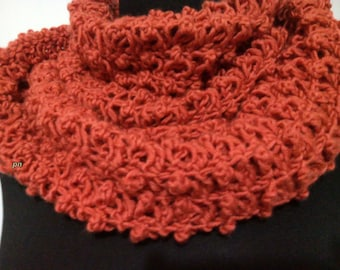 orange tile crochet scarf, neck warmer tile, double wrap neckwarmer, infinity scarves, handmade crochet scarf, double neck handmade crochet