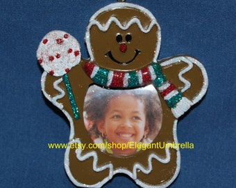 Gingerbread Man Photo Frame Christmas Ornament