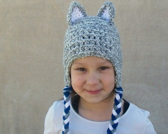 Big Bad Wolf Crochet Hat, Howling Wolf,  Cloud Grey Animal Hat for Children and Playful Grown-ups - Silver Grey Forest Animal