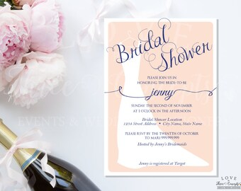 Jenny's Bridal Gown Shower -Navy Blue & Pink