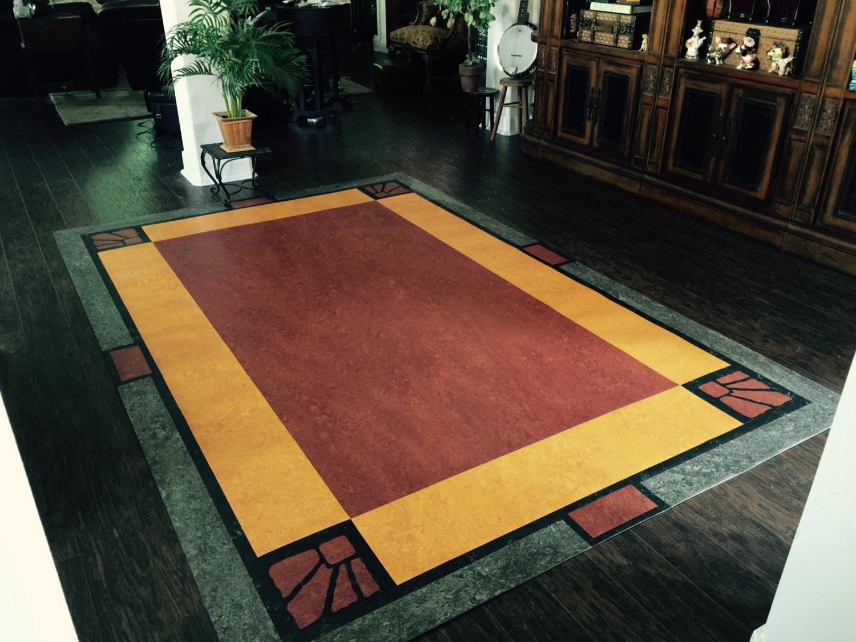 Zinn-Stadt von Hand geschnitten Lino Teppich funktionelle