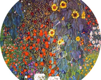 "Lovely Gustav Klimt Farm Daisy Aster Poppy Cornflower Flowers 9""/23cm design  23cm or 9"" round placemat table mat server centrepiece"