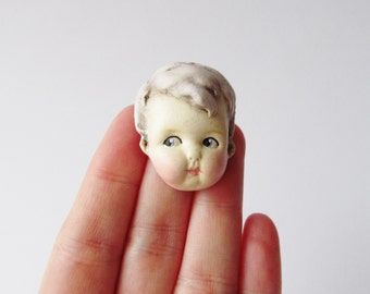 Antique Doll Pin Lilac Hair - Dottie's Doll Face Brooch Teddy